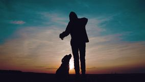 Portrait of a child at sunset with a dog.