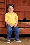 Portrait of child wearing fedora hat Stock Photography