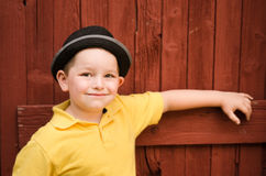 Portrait of child wearing fedora hat Royalty Free Stock Photography