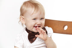 Portrait of a child on a white background. In the Studio Stock Image