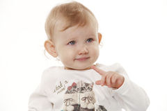 Portrait of a child on a white background Royalty Free Stock Photo