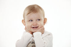 Portrait of a child on a white background Royalty Free Stock Images