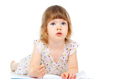 Portrait of a child who draws Royalty Free Stock Image