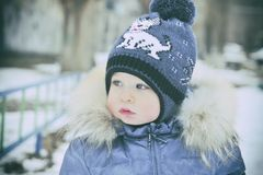Portrait of a child in winter clothes Stock Images