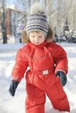 Portrait of a child in winter clothes, a walk through a winter park, Royalty Free Stock Images