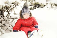 Portrait of a child in winter clothes, a walk through a winter park, Stock Photo