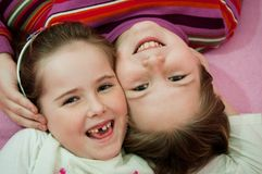 Portrait of children from above Stock Photo