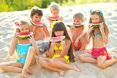 Portrait of children on the beach Stock Photo