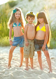 Portrait of children on the beach Royalty Free Stock Photos