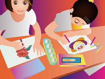 Portrait of children drawing picture Stock Image