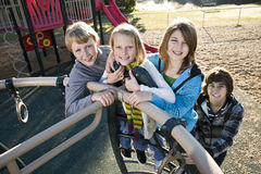 Portrait of children at park Royalty Free Stock Photography