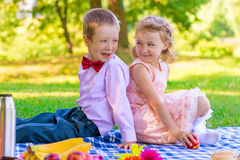 Portrait of children on a picnic Royalty Free Stock Photos