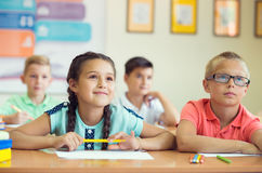Portrait of children in shool. At the lesson Royalty Free Stock Photos