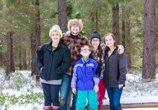 Portrait of Children in the Snow Stock Photo
