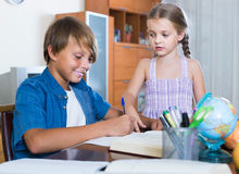 Portrait of children with textbooks and notes Royalty Free Stock Image
