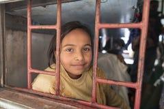 Portrait of  children in a train Stock Photo