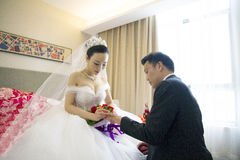 Portrait of Chinese bride and groom Stock Photo