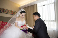 Portrait of Chinese bride and groom Royalty Free Stock Photo