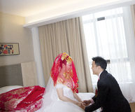 Portrait of Chinese bride and groom Royalty Free Stock Images