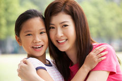 Portrait Of Chinese Mother With Daughter In Park Royalty Free Stock Images