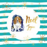 Portrait of Christmas dog. Merry Christmas poster. Basset hound with Merry Christmas card design with greetings in. French language on a striped background with Royalty Free Stock Images