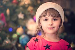 Portrait of a Christmas girl Royalty Free Stock Photography