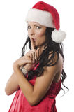 Portrait christmas girl in red Royalty Free Stock Photo