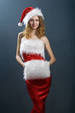 Portrait of a  christmas woman in beauty red dress Royalty Free Stock Image