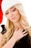 Portrait of christmas woman with closed eyes Royalty Free Stock Images