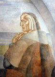 Portrait of Christopher Columbus, Mural paintings of the Monastery of La Rabida, Huelva, Spain. The Spanish painter Vazquez Diaz made the fresco paintings in Stock Image