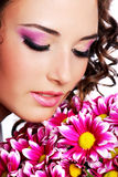 Portrait with chrysanthemum Royalty Free Stock Image