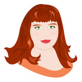 Portrait of chubby girl. Portrait of a young red-haired chubby girl. Vector illustration Stock Images