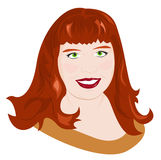 Portrait of chubby girl. Portrait of a young red-haired chubby girl. Vector illustration Stock Image