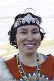 Portrait of Chukchi woman stock photo