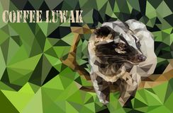 Portrait of a civet Viverra, in the low poly technique Royalty Free Stock Photography