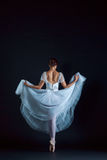 Portrait of the classical ballerina in white dress on black background. Portrait of the classical ballerina in white dress on the black background Stock Images