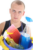 Portrait of cleaner with cleaning supplies Royalty Free Stock Images