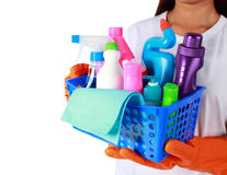 Portrait of cleaning equipment isolated over white background Stock Image