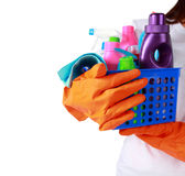 Portrait of cleaning equipment isolated over white background Royalty Free Stock Images