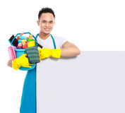 Cleaning service with white board Stock Photos
