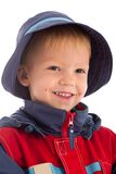 Portrait of clever pretty hazel-eyes boy. Portrait of happy boy in hat isolated on white stock photo