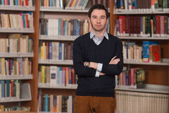 Portrait Of Clever Student In Library Stock Images