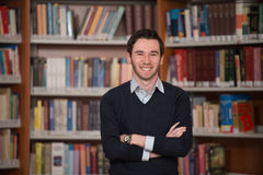 Portrait Of Clever Student In Library Stock Photography