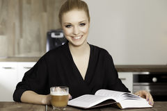 Portrait of clever student reading book. Portrait of beauty clever student reading book Royalty Free Stock Photography
