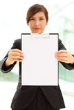 Portrait with clipboard Stock Images