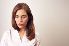 Portrait of depressed sad woman stock image