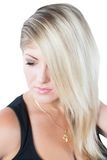 Portrait of a close-up beautiful  woman with blondy hair Royalty Free Stock Image