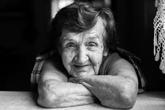 Portrait close-up of a happy elderly woman. royalty free stock photography