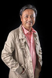 Portrait close up smiling happiness face of 59s years old asian Royalty Free Stock Photography