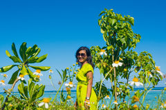 Portrait close up of young beautiful asian girl at chamomile flowers field Stock Photos
